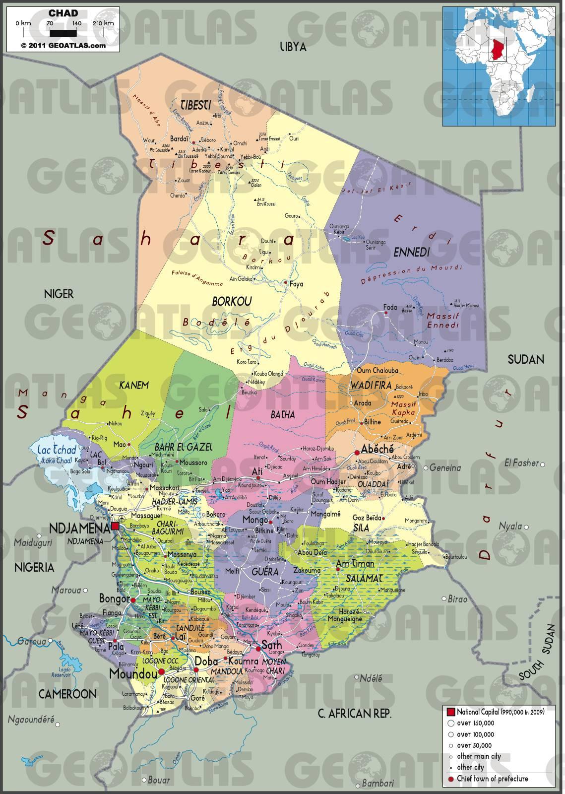 Carte administrative du Tchad