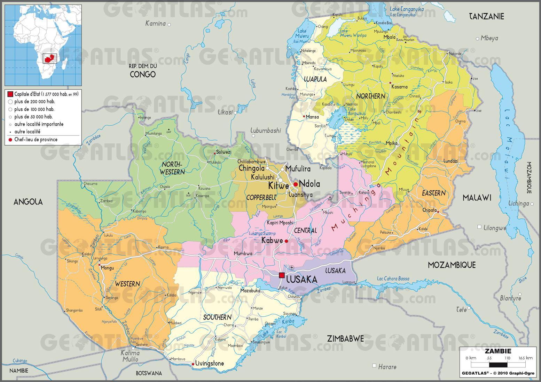 Carte administrative de la Zambie