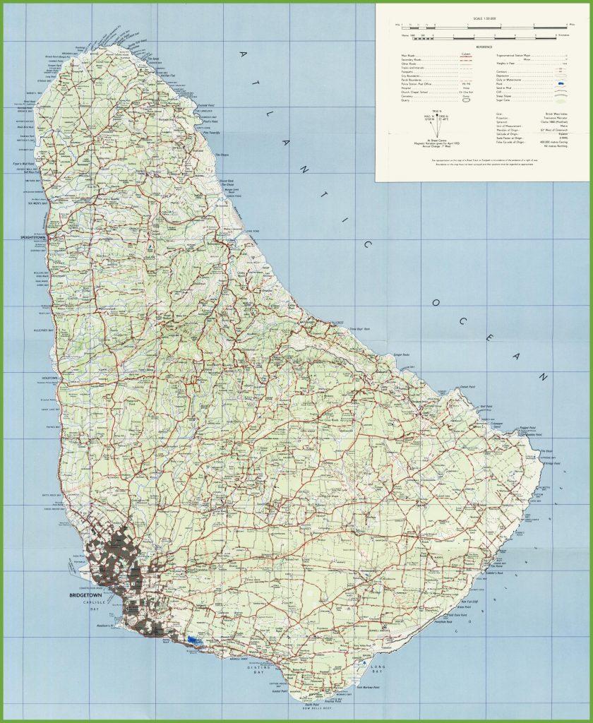 Carte détaillée de la Barbade