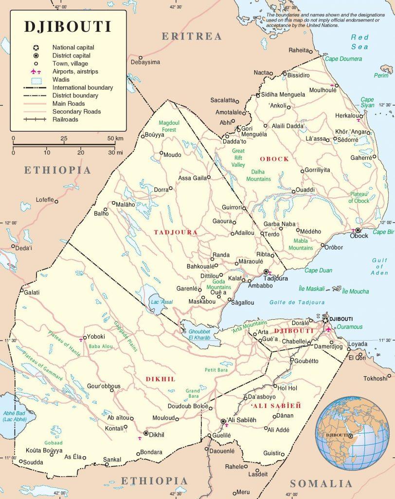 Carte détaillée de Djibouti