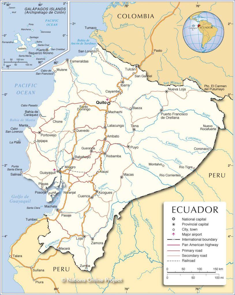 Carte détaillée de l'Equateur