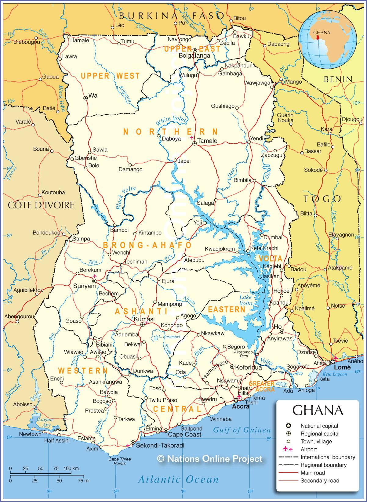 Carte détaillée du Ghana
