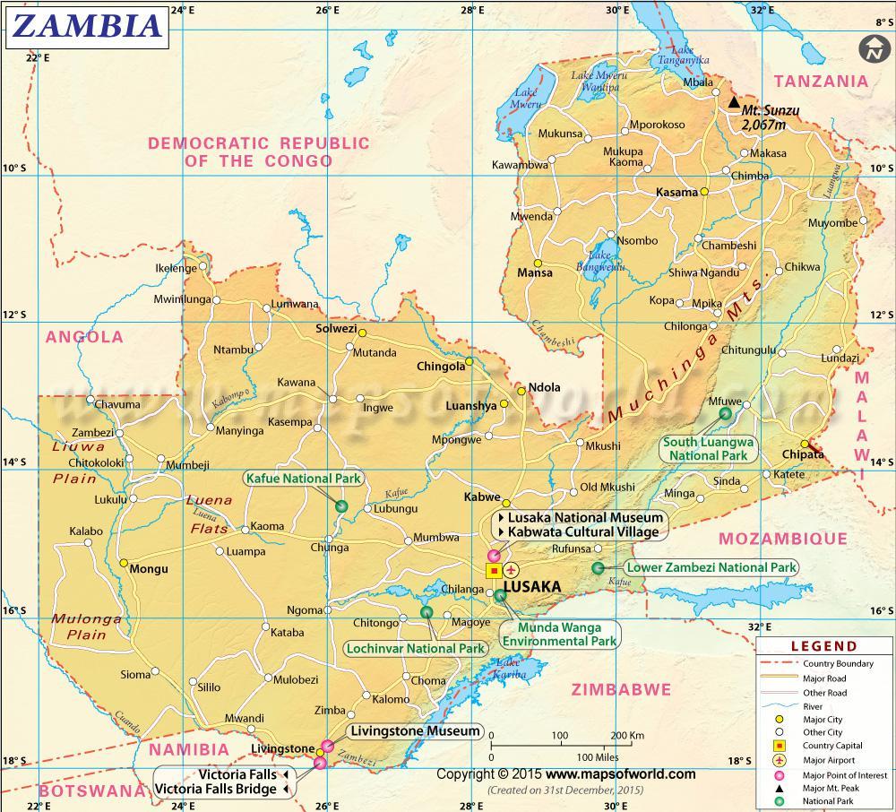 Carte détaillée de la Zambie