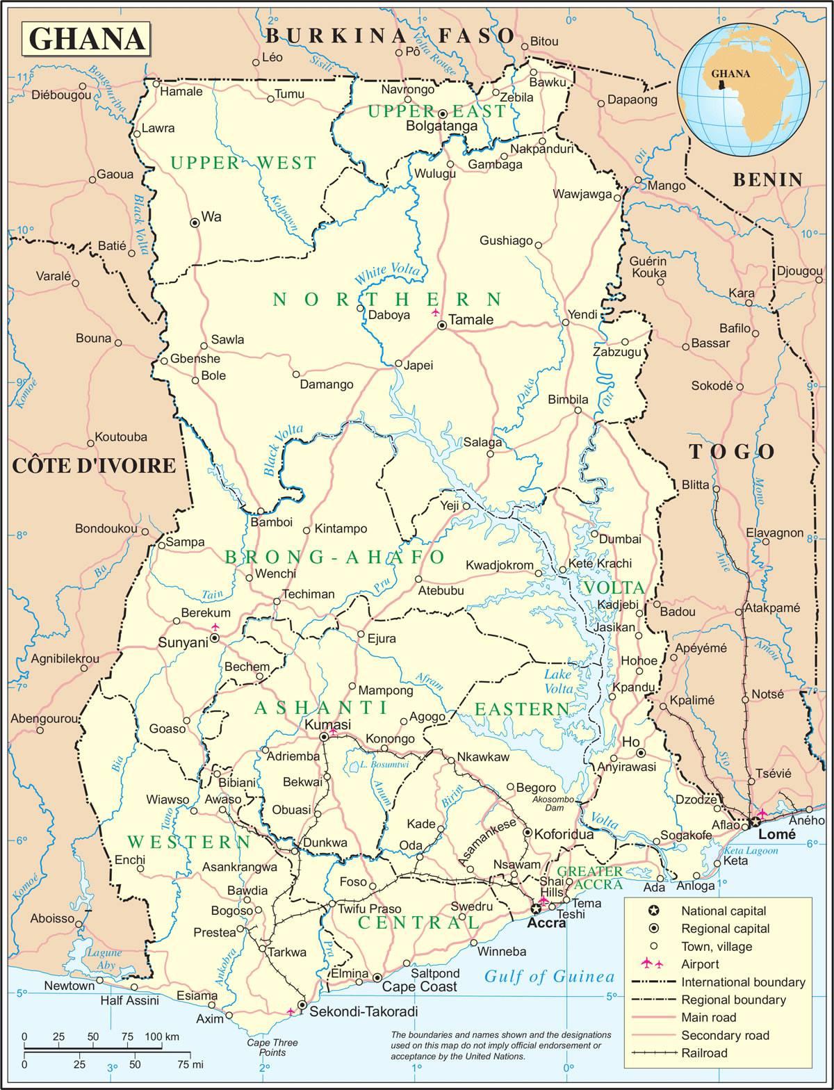 Carte géographique du Ghana