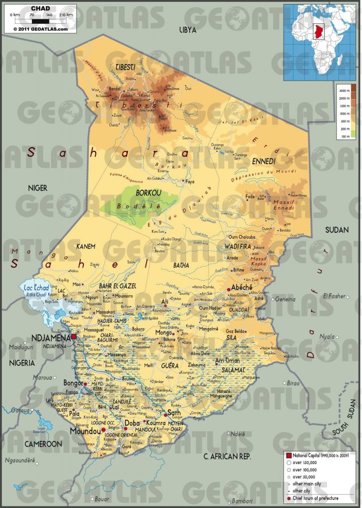 Carte géographique du Tchad