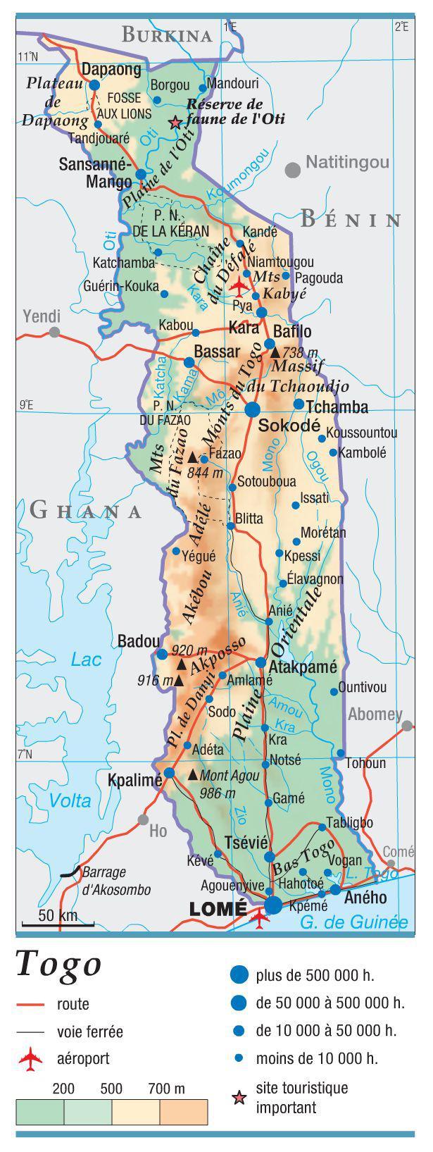 Carte du Togo   Plusieurs cartes du pays en Afrique