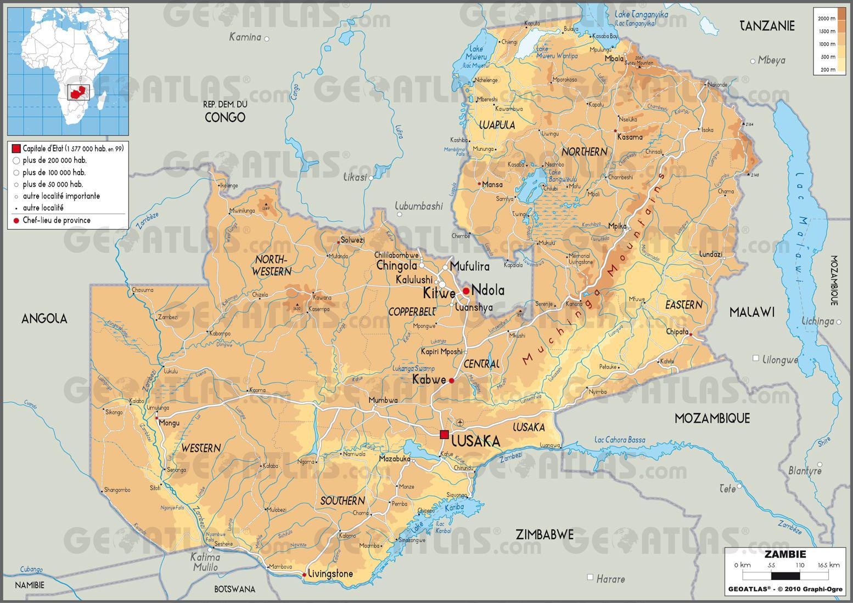 Carte géographique de la Zambie