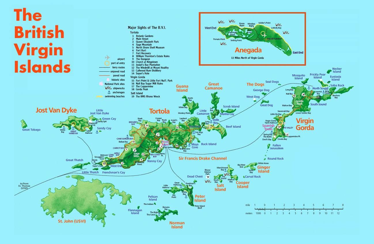 Carte des Îles Vierges Britanniques