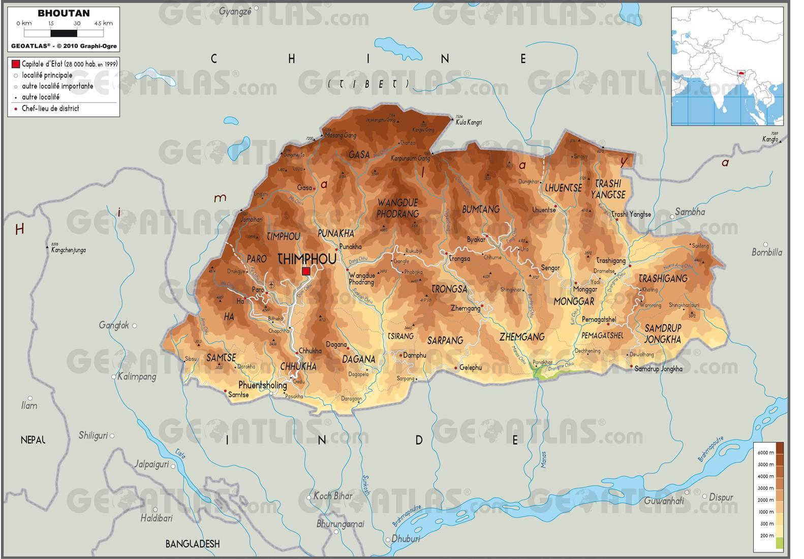 Carte politique du Bhoutan
