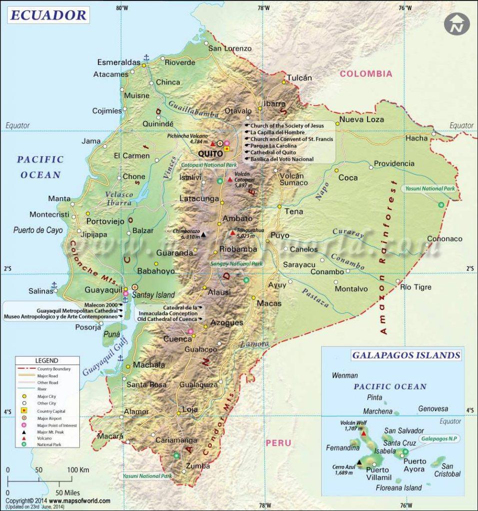 Carte politique de l'Equateur