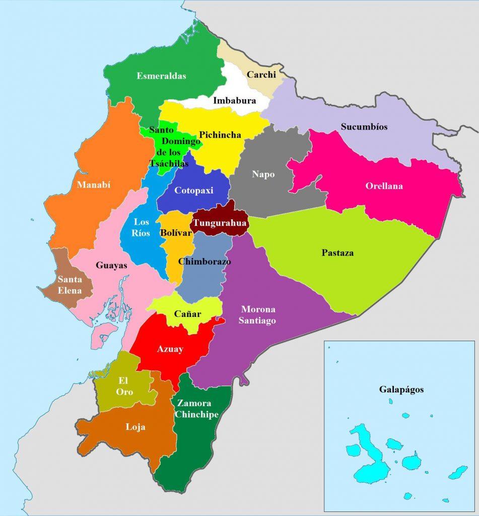 Carte des régions de l'Equateur
