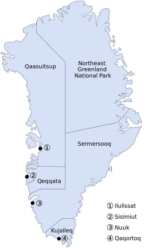 Carte des régions du Groenland