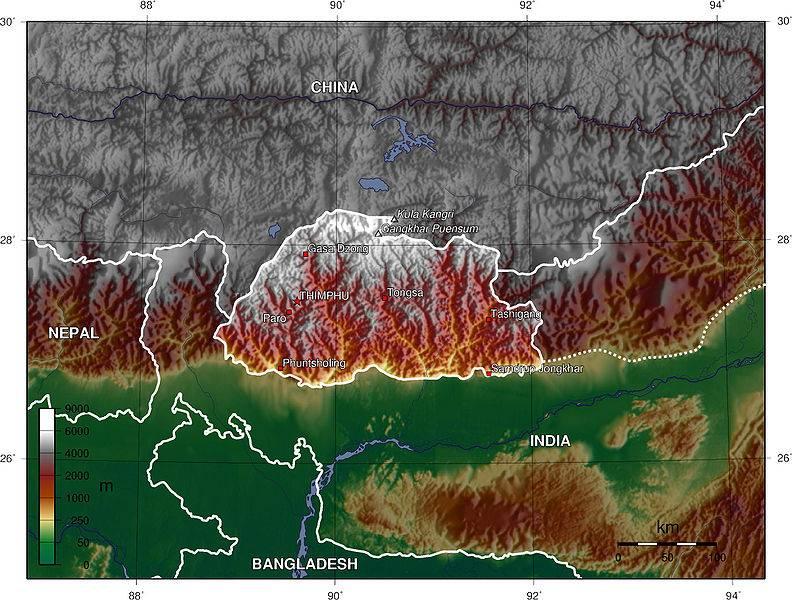 Carte du relief du Bhoutan