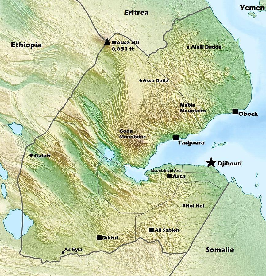 Carte du relief de Djibouti
