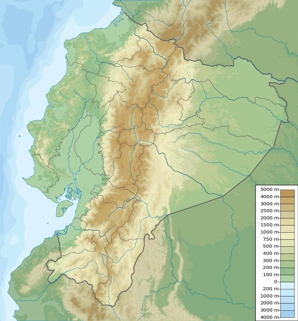 Carte du relief de l'Equateur