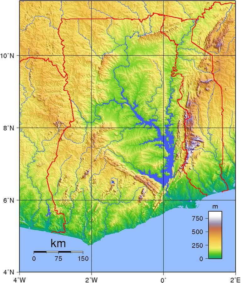 Carte du relief du Ghana