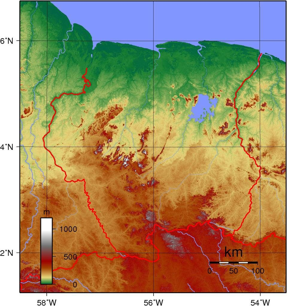 Carte du relief du Surinam