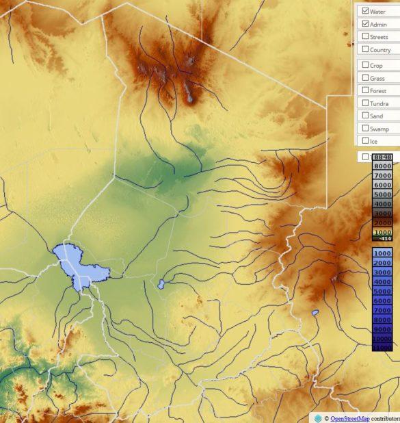 Carte du relief du Tchad