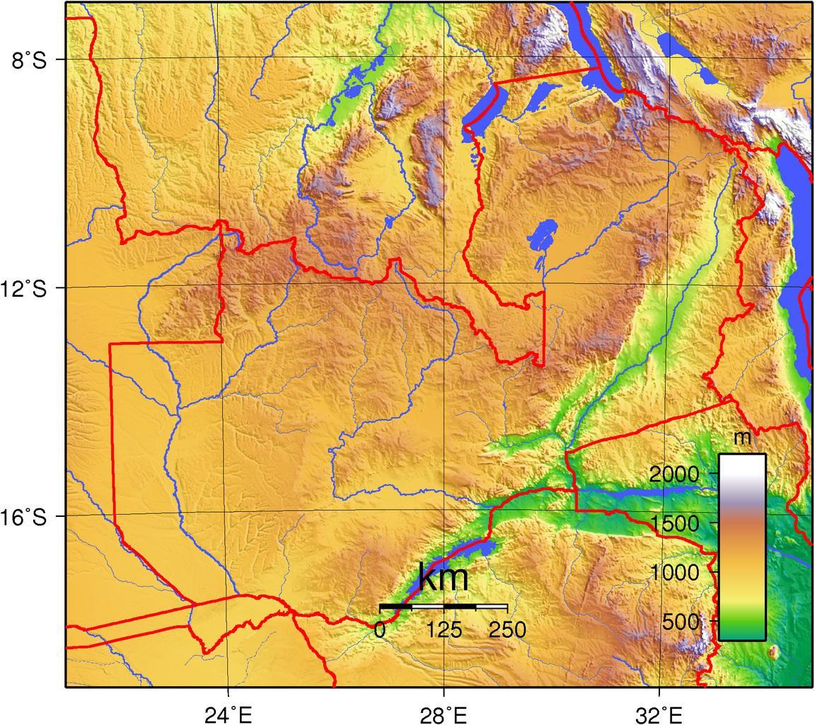 Carte du relief de la Zambie