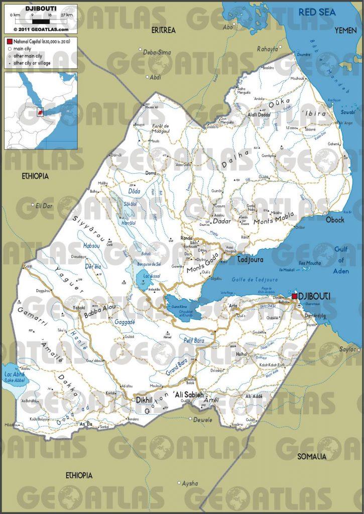 Carte des routes à Djibouti