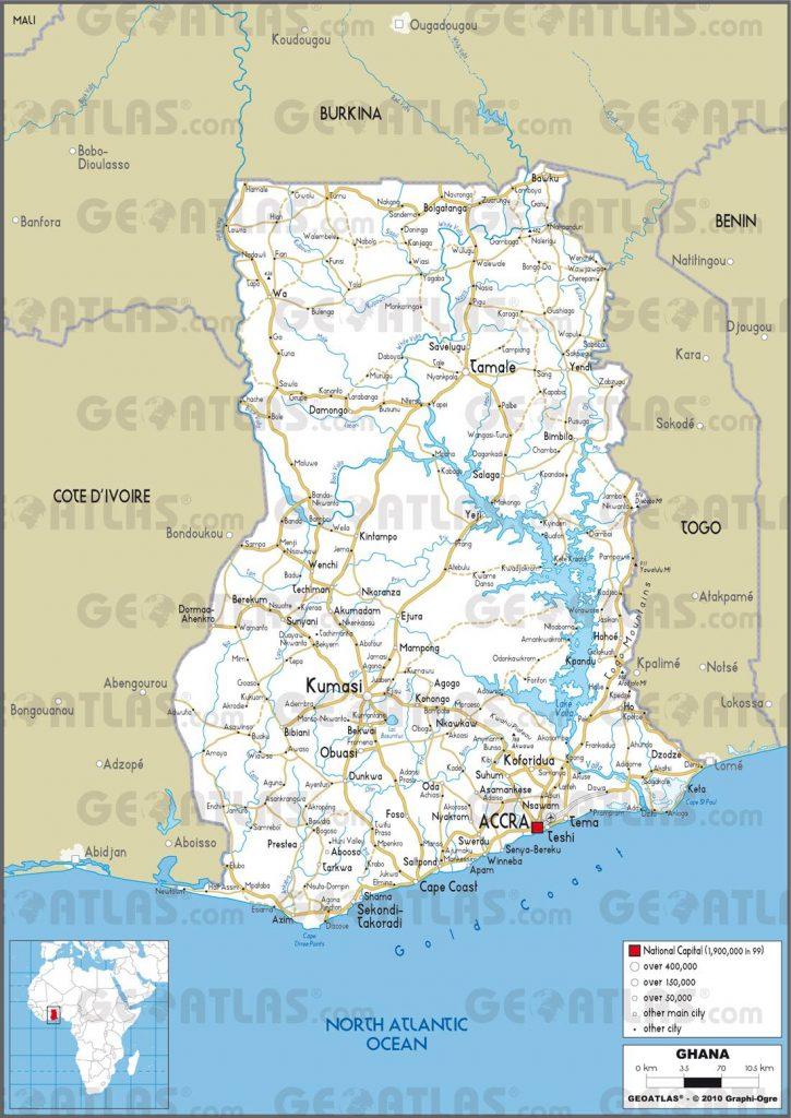 Carte routière du Ghana