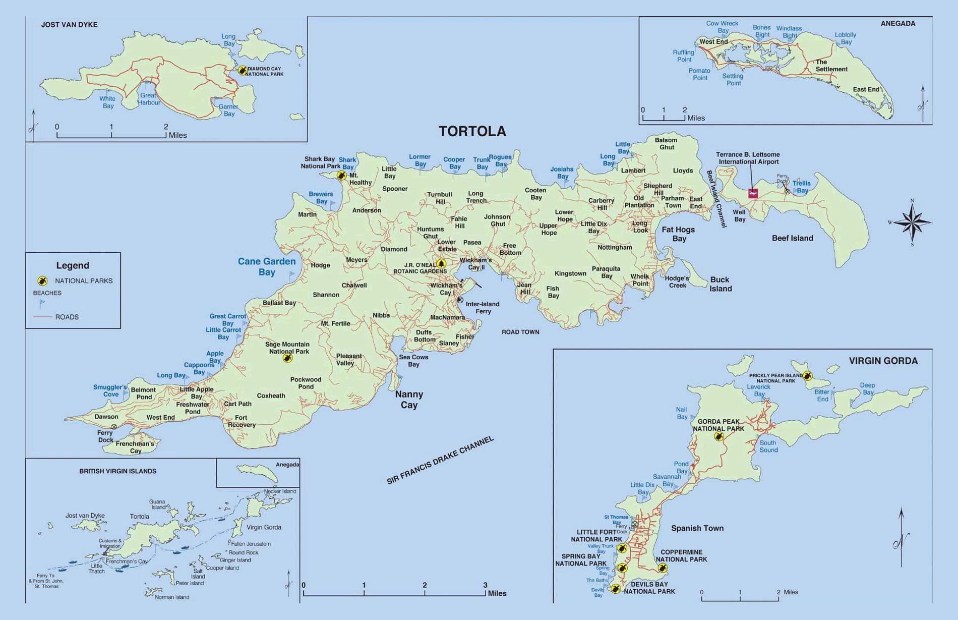 Carte routière des Îles Vierges Britanniques