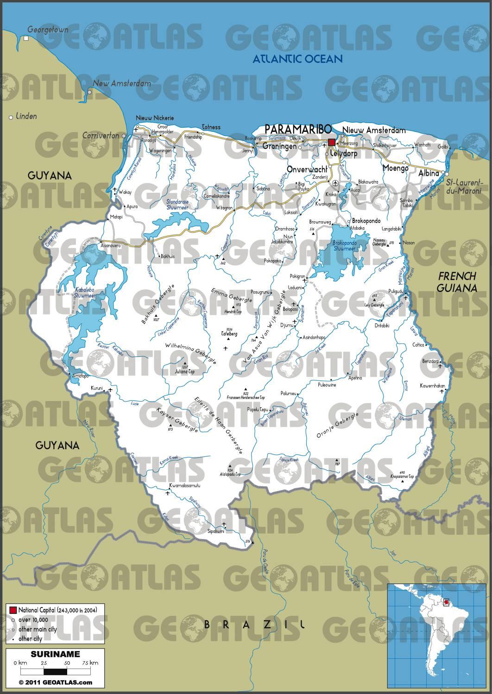 Carte routière du Surinam