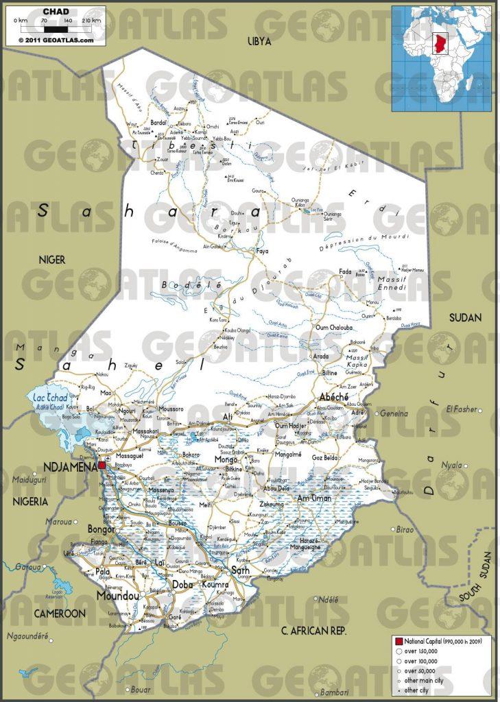 Carte routière du Tchad