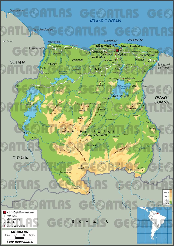Carte du tourisme au Surinam