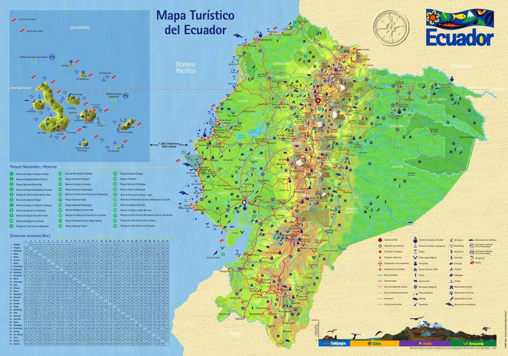 Carte touristique de l'Equateur