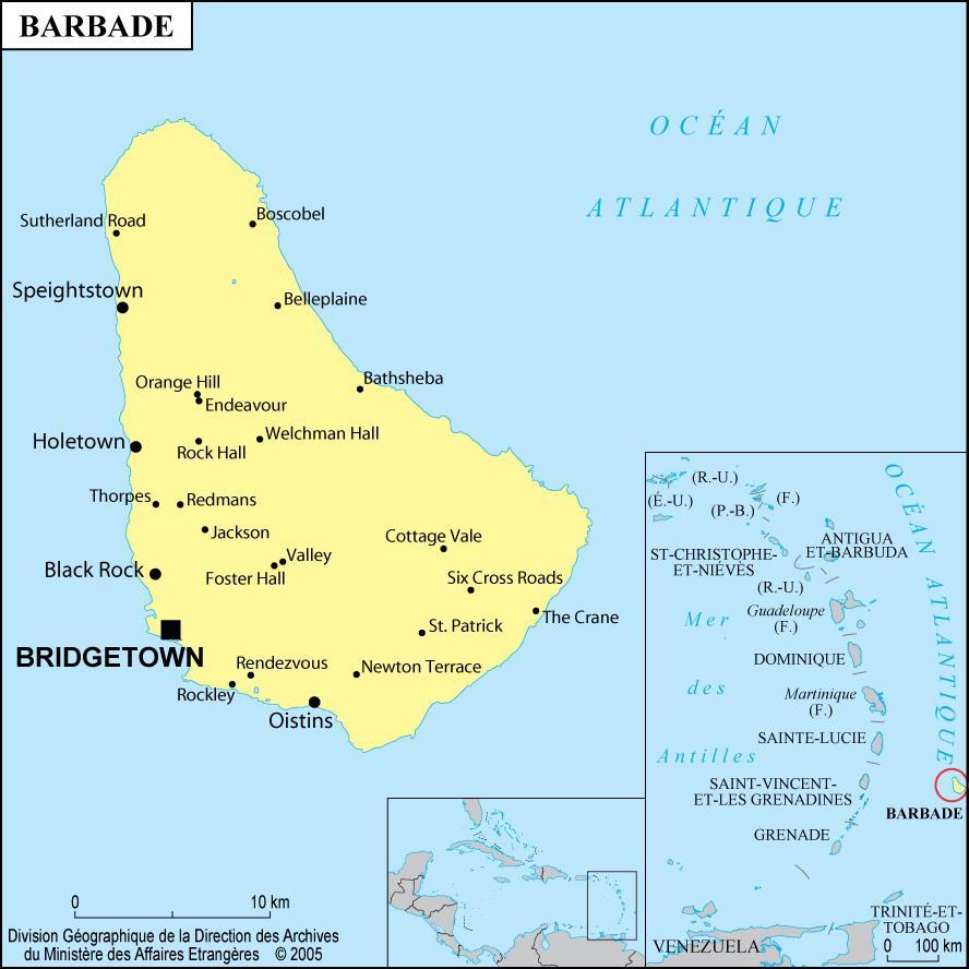 Carte des villes de la Barbade