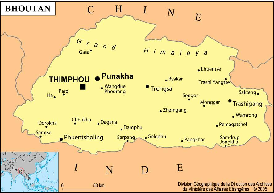 Carte des villes du Bhoutan