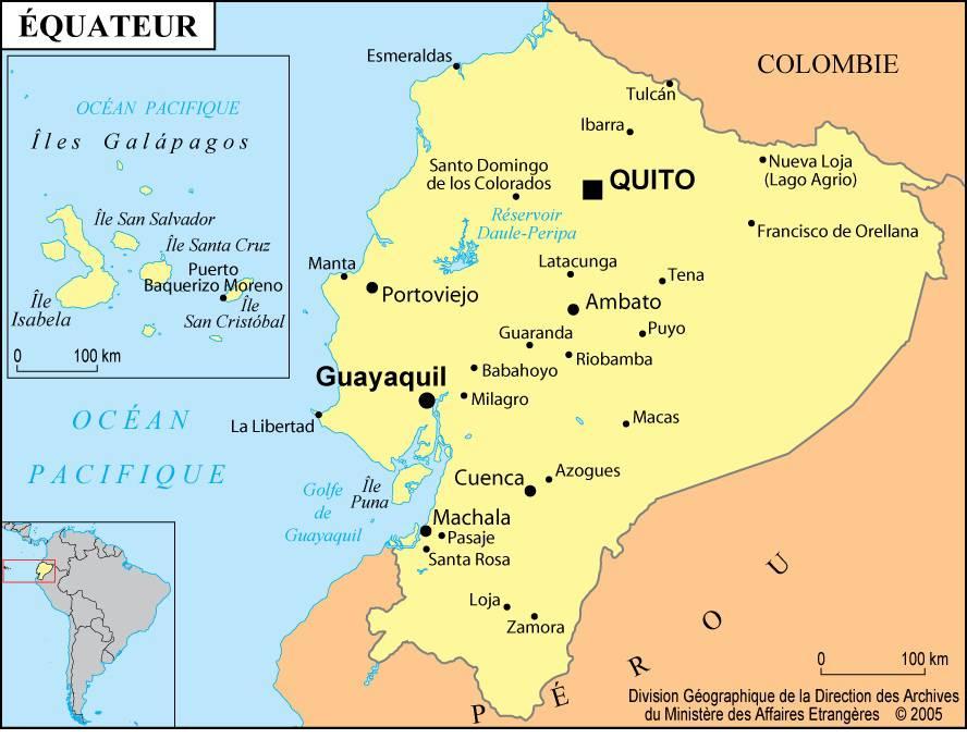 Carte des villes de l'Equateur