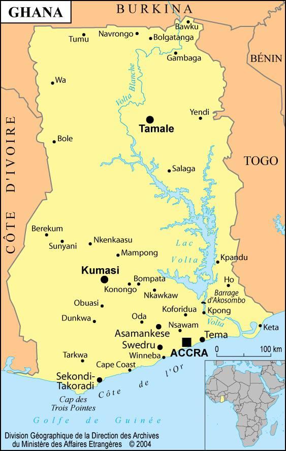 Carte des villes du Ghana