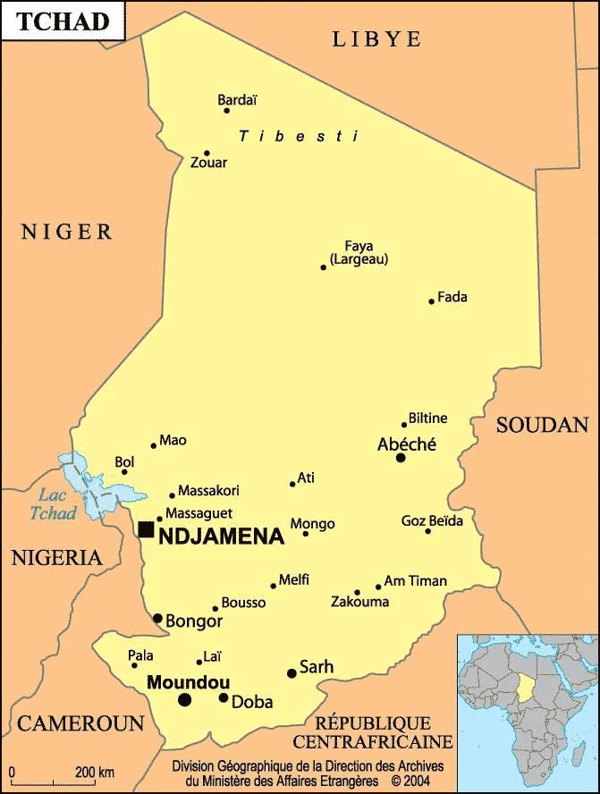Carte des villes du Tchad