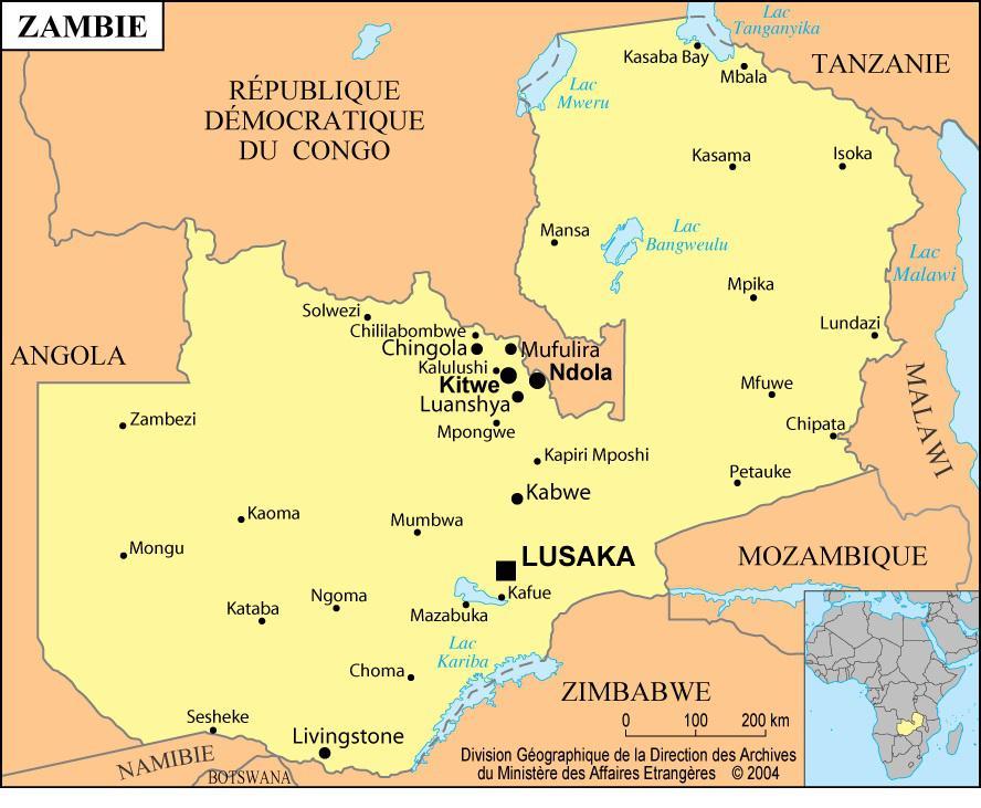 Carte des villes de la Zambie