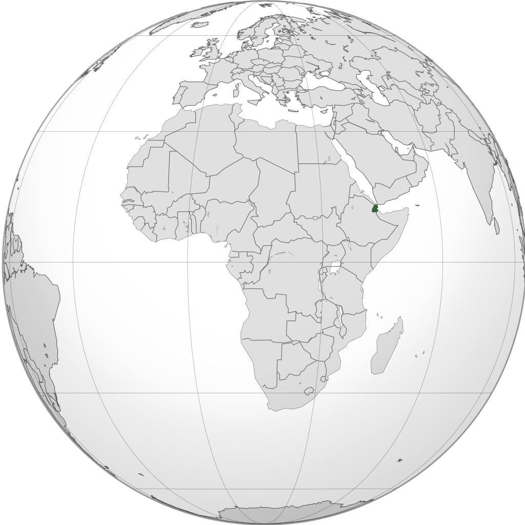 Djibouti sur une carte de l'Afrique