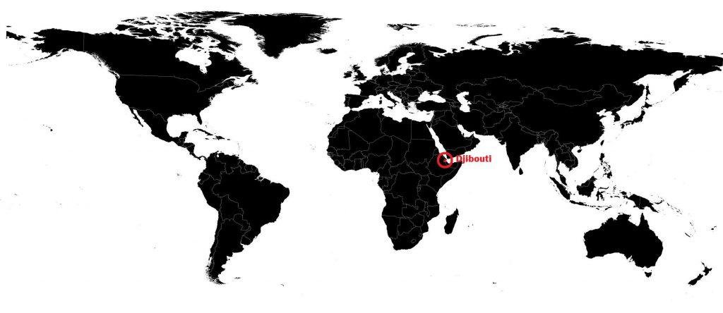 Djibouti sur une carte du monde