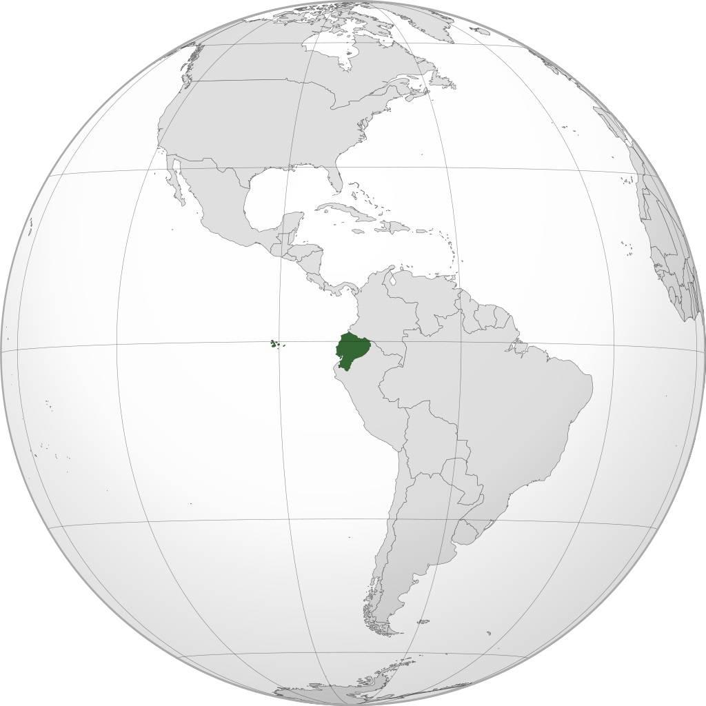 Equateur sur une carte d'Amérique du Sud