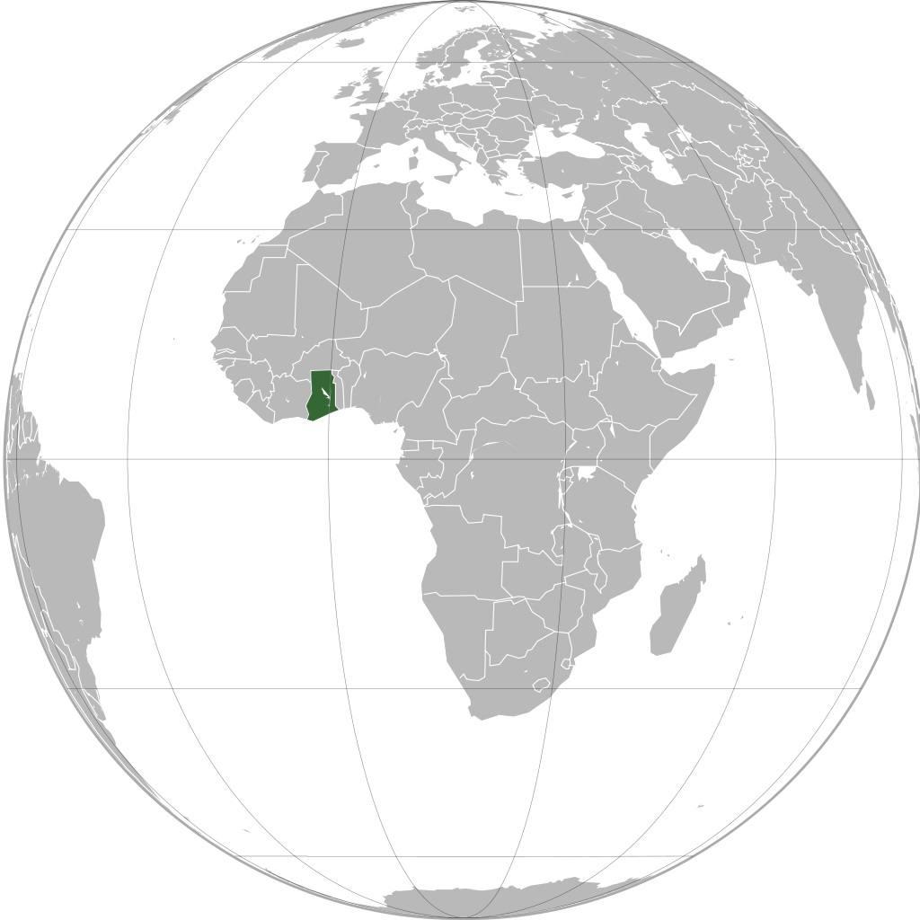 Ghana sur une carte de l'Afrique