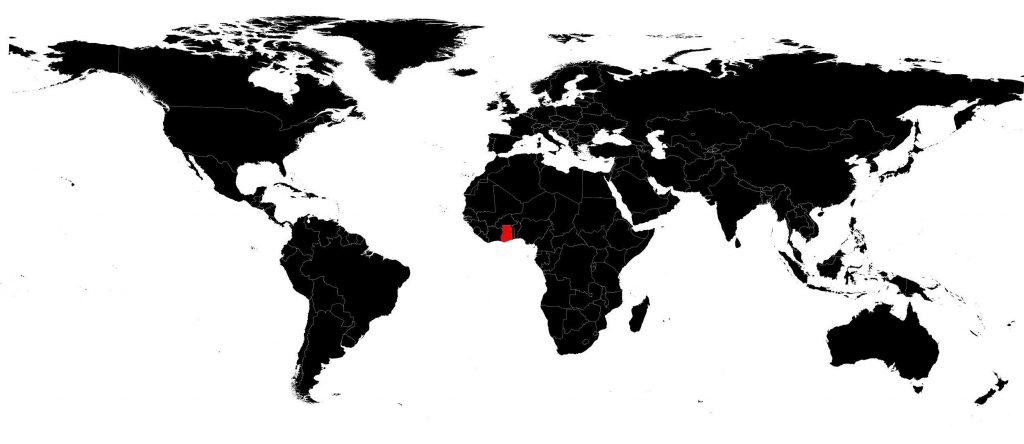 Ghana sur une carte du monde