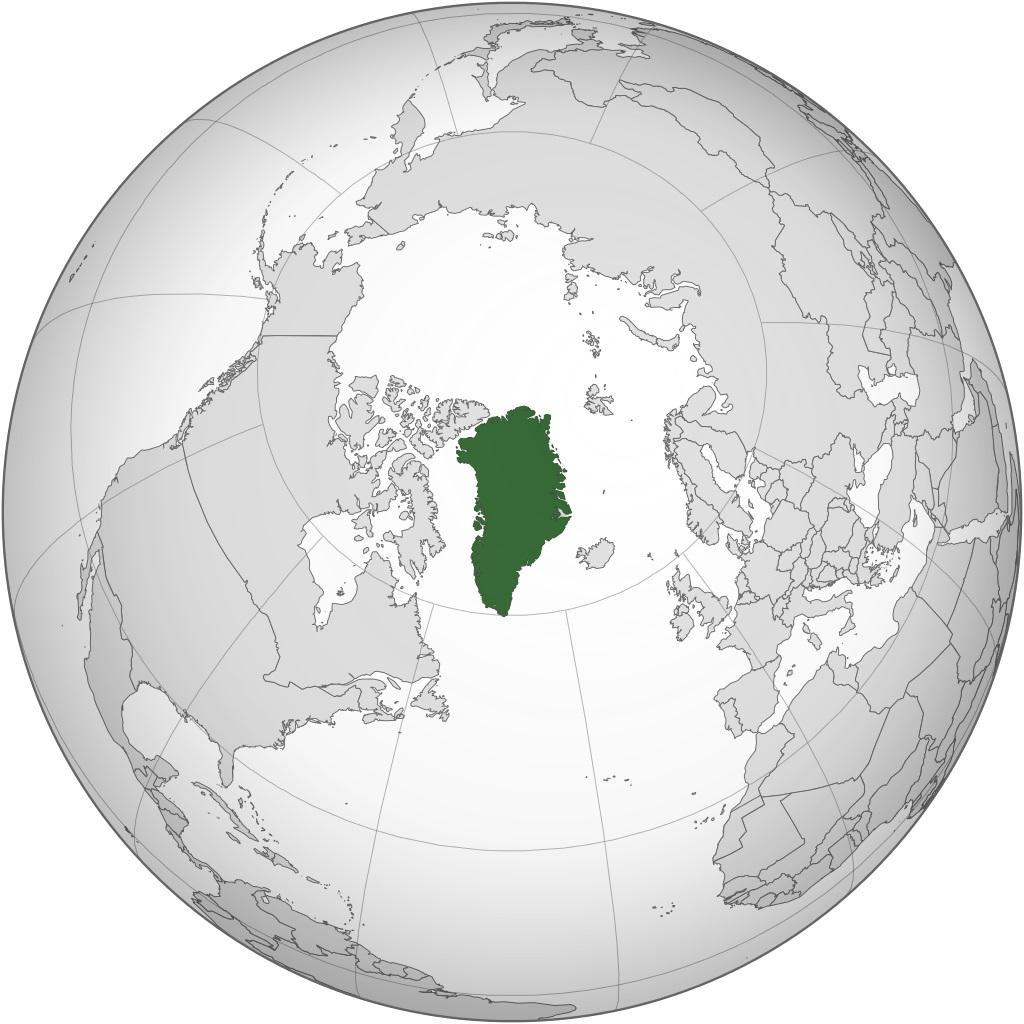Groenland sur une carte de l'Amérique