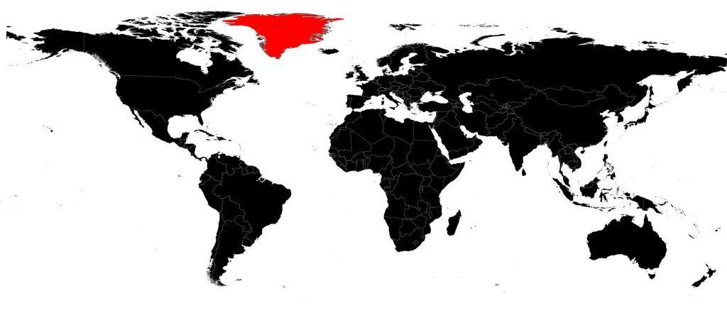Groenland sur une carte du monde