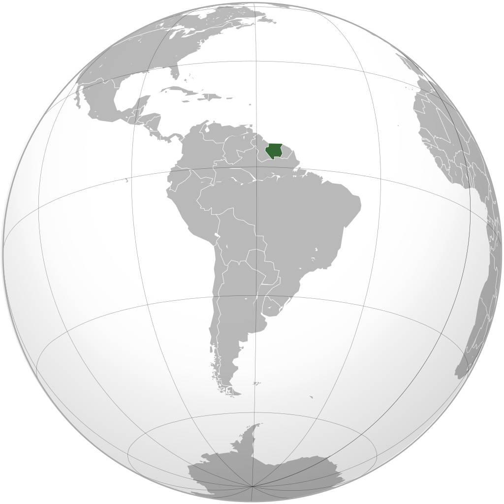Surinam sur une carte de l'Amérique du Sud