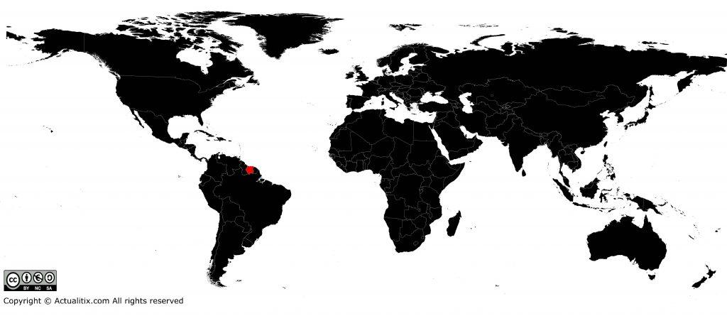 Surinam sur une carte du monde