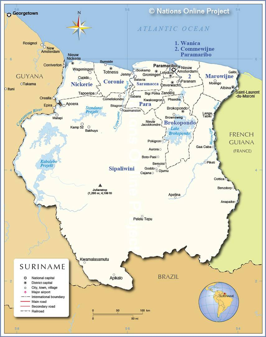 Carte du Surinam