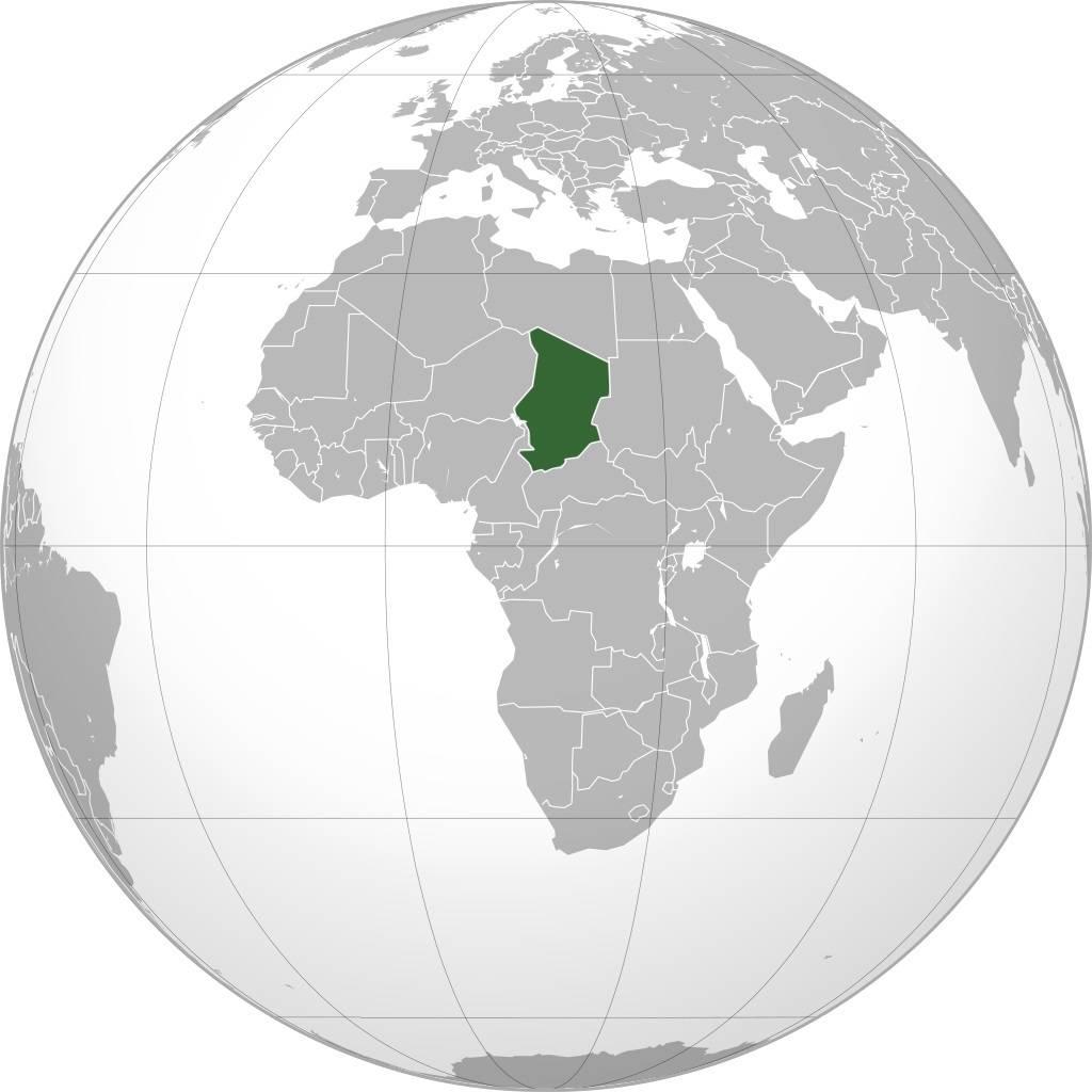 Tchad sur une carte de l'Afrique