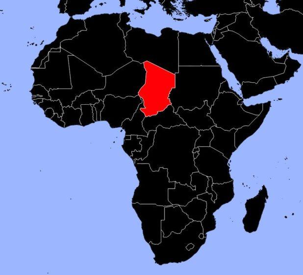 Tchad sur une carte d'Afrique
