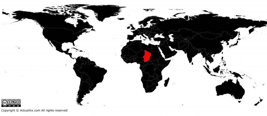 Tchad sur une carte du monde