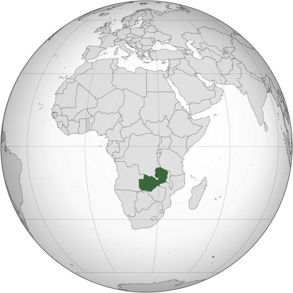 Zambie sur une carte de l'Afrique